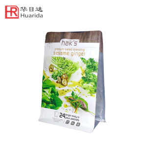 Custom Printed Flat Bottom Pouch Sauce Food Plastic Packaging Bag